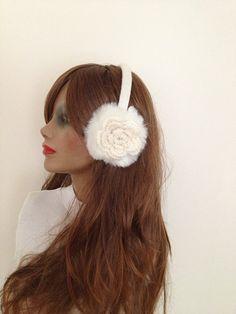FREE SiPPiNG White EarmuffPlush with crochet  flower by NesrinArt, $65.00
