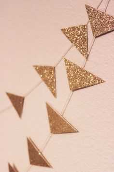 Gold Triangle Glitter Bokeh Paper Garland  by StellaArborBoutique, $9.00