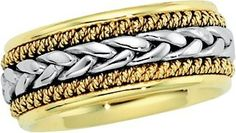 14K Gold Two Tone Men's Wedding Band.    http://www.thediamondstore.com/products/men's-wedding-rings/14k-gold-two-tone-mens-wedding-band-%7C-50049/7-592