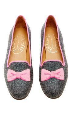 Bowtie Pink Skimmer by Stubbs & Wootton for Preorder on Moda Operandi