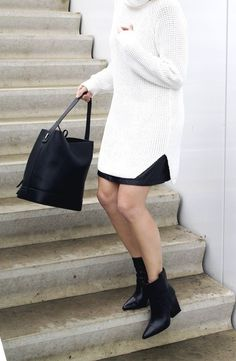 MINIMAL + CLASSIC: Hope sweater with mini with Chelsea boots & bucket bag