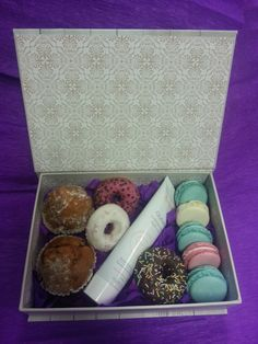 Gift box with macarons and brownies