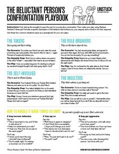 UNSTUCK - Printable and pin-able worksheet The Reluctant Person's Confrontation Playbook, what to say ad not to say