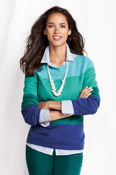 Women's Year Round Cashmere Colorblock Balletneck Sweater from Lands' End