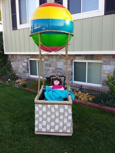 The costume I made for the wheelchair this Halloween. Picture taken 10/26/13. 8 yards of burlap, 12 yards of ribbon, 200 feet of rope, one HUGE beach ball and lots and lots of glue and tape!! Wheelchair costume ideas!! Costume ideas!!