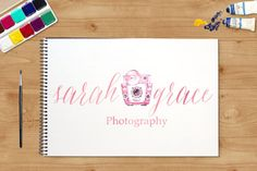 Camera Logo  Watercolor Logo  Floral Logo  by SouthernSkieDesign