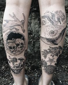 Forest vs ocean calves: raccoons, moose antler, maple key, mushrooms And… Unique Tattoos, Beautiful Tattoos, New Tattoos, Body Art Tattoos, Sleeve Tattoos, Cool Tattoos, Tatoos, Nature Tattoo Sleeve, Calve Tattoo