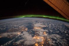 "Post with 257 views. NASA posted this stunning image of Ireland/UK with the text: ""Happy ‪ Here's an image of Ireland seen from here from the International Space Station on a moonlit night under an amazing green aurora"" Aurora Borealis, Northern Lights From Space, Cosmos, Nasa Pictures, Images Of Ireland, Ireland Uk, Northern Ireland, Wild Atlantic Way, Amazing Greens"