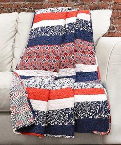 Navy & Orange Stripe Cotton Throw | zulily