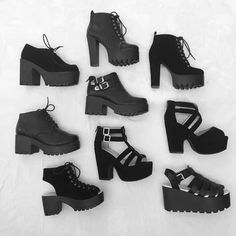 New Heel Boats Outfit Dress Shoes 43 Ideas Goth Shoes, Shoes Heels, Fashion Boots, Fashion Outfits, Womens Fashion, High Heel Boots, Shoe Boots, Aesthetic Shoes, Pretty Shoes
