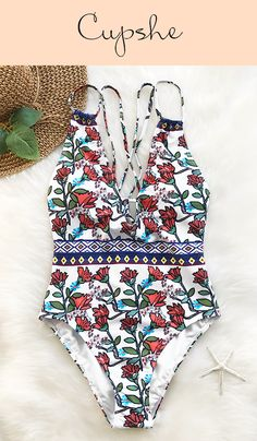 Feeling tired and craving for a leave? Be ready to head off to where beaches, warm waters, and outdoor adventures await! Pack Cupshe Spring Blossoms Print One-piece Swimsuit together with suntan lotion and enjoy the sunshine!