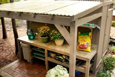 Potting bench - corrugated roof