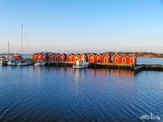 Boat houses early in the morning (winter time), Gothenburg, Southern archipelago