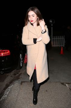 Lily Collins style | Jennifer Klein Holiday Party 2013