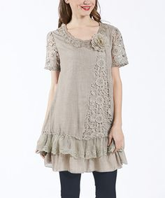 Another great find on #zulily! Khaki Crochet-Sleeve Ruffle-Tier Tunic by Simply Couture #zulilyfinds