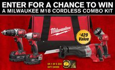 Enter our sweepstakes for a chance towin a Milwaukee M18 Cordless Combo Kit or 1 of 5 $50 NorthernTool.com gift cards! Share your referral link with friends + earn more entries for yourself if they enter!