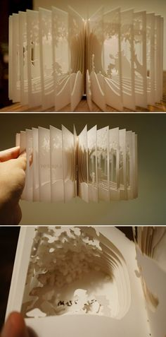 360 degree Snow White Flipbook - When you open it and flip the pages around, every direction reveals new details within the tiny carvings. By Yusuke Ono.