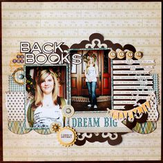 "by Jana Eubank.... a back to school layout... love the ""ruler"" background paper!"