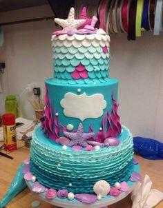 Mermaid Birthday Cake - Contact Hyderabad Cupcakes to order! Little Mermaid Cakes, Mermaid Cupcakes, Little Mermaid Parties, Little Mermaid Birthday Cake, Fancy Cakes, Cute Cakes, Pretty Cakes, Fondant Cakes, Cupcake Cakes