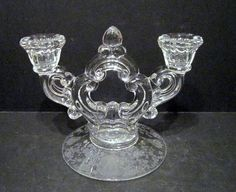 Brilliant Glass Candle Holder Floral Engraved Base