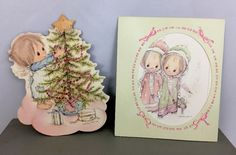 Lot 2 Vintage Betsey Clark Christmas Cards Hallmark Tree Pink Ribbons Girls
