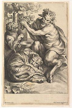 Satyr with Grapes and Two Tigers - Lucas Vorsterman II (Flemish, after Peter Paul Rubens (metmuseum) Satanic Art, Arte Obscura, Occult Art, Biblical Art, Green Man, Vintage Wall Art, Gravure, Ancient Art, Dark Art