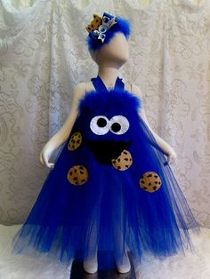 Fits 2T  4T Cookie Monster Tutu Halter Style Dress by cd1ofakind