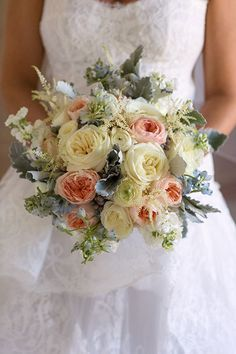 White and Blush Bouquet with Touches of Blue | Brides.com