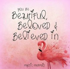 You are Beautiful, Beloved and Believed in. Flamingo Decor, Pink Flamingos, Quotes To Live By, Life Quotes, Flamingo Birthday, Pink Bird, My Spirit Animal, Positive Quotes, Favorite Quotes