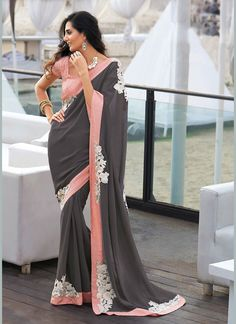 Pin by Pavitraa on Party Wear Sarees Designer Party Sarees gray color ki saree - Gray Things Indiana, Grey Saree, Sarees Online India, Bollywood, Designer Sarees Online, Designer Kurtis, Saree Shopping, Elegant Saree, Saree Dress