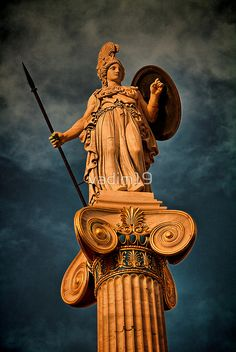 The statue of Athena.' by Greece. The statue of Athena. Architecture Antique, Ancient Greek Architecture, Greece Architecture, Modern Architecture, Greek History, Art History, Ancient Art, Ancient History, Art Ancien