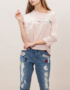 Top with patch and text message - T-SHIRTS - WOMAN | Stradivarius Turkey