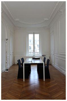 *herringbone wood floor black chairs white - white and gold
