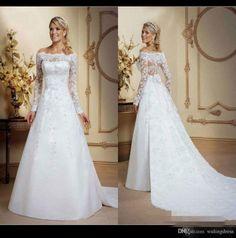 modest-bateau-lace-satin-layer-a-line-wedding