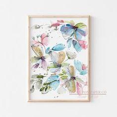 Watercolor Floral print set, Art prints, Set of three, Watercolor wall art, Printable watercolor, Flower painting, Flower wall decor