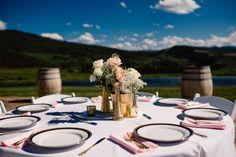 elegant farm wedding round table setting