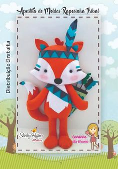 Foto von Feltro von Cantinho da Bruna in Carmo de Minas. Bild kann enthalten: t … – Stofftier Tribal Fox, Tribal Animals, Felt Diy, Felt Crafts, Felt Doll Patterns, Fox Party, Indian Crafts, Baby Pillows, Stuffed Animal Patterns