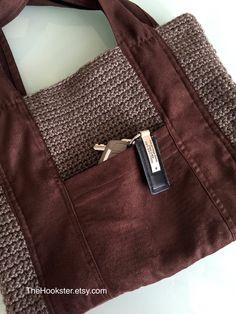 Crochet micro suede bag with outside pockets in brown & taupe, fully lined handbag, crochet boho handbag, hobo handbag, vegan bag, #H018 by TheHookster on Etsy