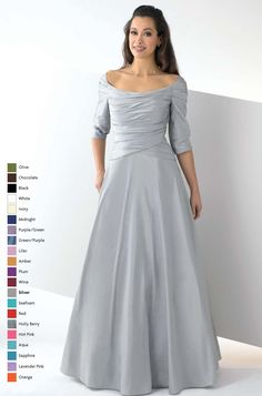 floor length off-the-shoulder a-line bridesmaid dresses with sleeves BD395