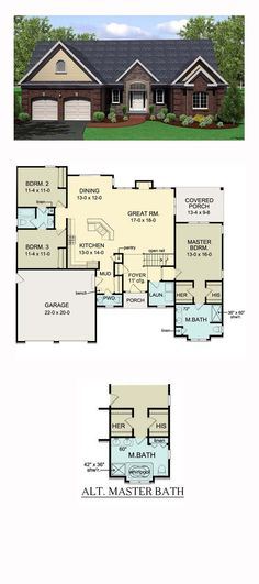 Ranch Style House Plan 54066 | Total Living Area: 1796 sq. ft., 3 bedrooms and 2.5 bathrooms. #ranchhome