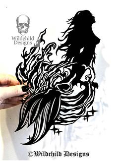 Mermaid Bursting from the Ocean Waves Paper Cutting Template