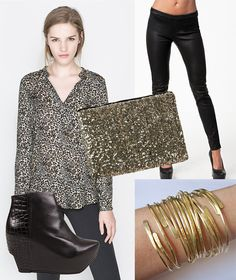 Party style with leopard print, black leather and gold accessories
