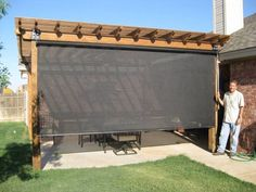 Vertical retractable privacy and solar screens for your deck, patio or hot tub. Powered by electrical motor with a remote control, or manually winded. Choose from full privacy to light shading. A fly proof kit can convert these screens into an insect proo