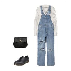 White striped button-down shirt+denim dungarees+black brogues/ Oxford shoes+black crossbody bag. Transitional/ Spring Casual Outfit 2018