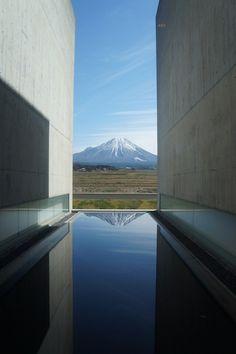Mt. Hoki-fuji from Shoji Ueda Museum of Photography in Houki (near Yonago), Tottori, Japan. Built by the famous Japanese architect, Tadao Ando.