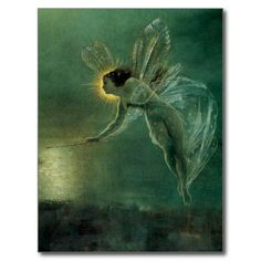 Spirit of the Night by Grimshaw, Victorian Fairy Postcards