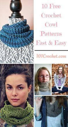 10 Free Crochet Cowl Patterns - Fast & Easy | 101 Crochet