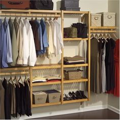 Organize your closet in style with this John Louis Home standard closet shelving system. Made from solid wood with a honey maple finish and offering multiple configuration options, this closet system is luxurious and space-saving. Laundry Room Storage, Closet Storage, Bedroom Storage, Closet Organization, Storage Spaces, Organization Ideas, Laundry Area, Wardrobe Storage, Organizing Tips