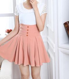 japanese fashion- high waisted skirt with thick waist band