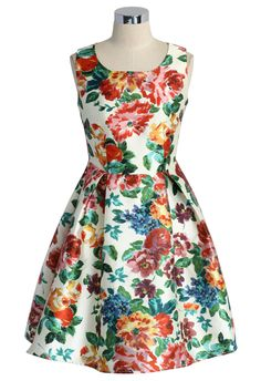 Blossom Age Floral Print Pleated Dress - Retro, Indie and Unique Fashion